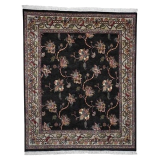 "Shahbanu Rugs Botanical Design Hand-Knotted pure Wool Oriental Rug (8'1"" x 10'10"") - 8'1"" x 10'10"""
