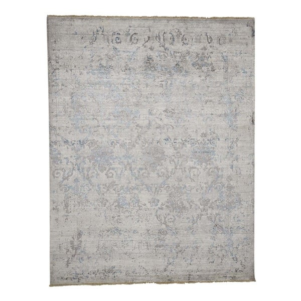 """Shahbanu Rugs Wool and Silk Broken Persian Design Hand Knotted Rug (7'9"""" x 9'10"""") - 7'9"""" x 9'10"""""""