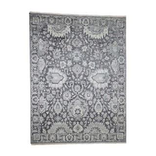 """Shahbanu Rugs  Hand-Knotted Oushak Influence Silk with Oxidized Wool Oriental Rug  (7'9"""" x 10'0"""") - 7'9"""" x 10'0"""""""