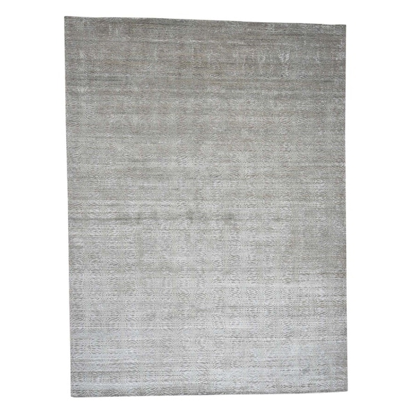 """Shahbanu Rugs Real Silk with Oxidized Wool Tone on Tone Hand-Knotted Oriental Rug (9'10"""" x 13'10"""") - 9'10"""" x 13'10"""""""