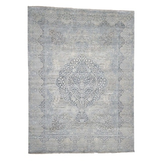 """Shahbanu Rugs Tree Of Life Design Silk With Oxidized Wool Hand-Knotted  (12'0"""" x 15'3"""") - 12'0"""" x 15'3"""""""