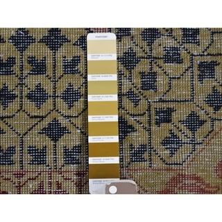 "Shahbanu Rugs Vintage Look Mamluk Zero Pile Shaved Low Worn Wool Rug (12'0"" x 14'10"") - 12'0"" x 14'10"""