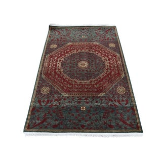 "Shahbanu Rugs Vintage Look Mamluk Zero Pile Shaved Low Worn Wool Rug (3'0"" x 4'9"") - 3'0"" x 4'9"""