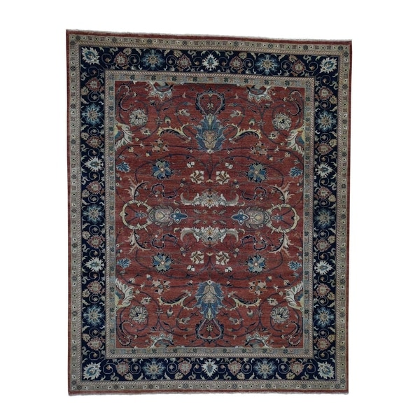 """Shahbanu Rugs Antiqued Heriz Re-Creation All Over Design Hand-Knotted Rug (8'0"""" x 10'0"""") - 8'0"""" x 10'0"""""""
