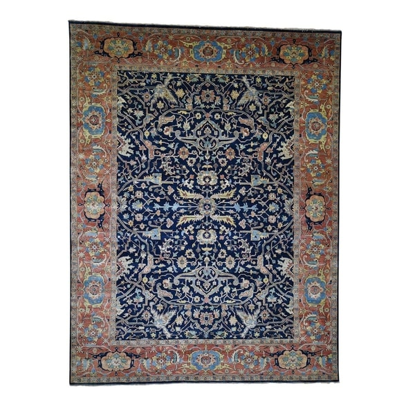 "Shahbanu Rugs Heriz Re-Creation All Over Design Pure Wool Hand-Knotted Oriental Rug (8'10"" x 11'10"") - 8'10"" x 11'10"""