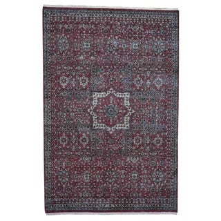 "Shahbanu Rugs Vintage Look Mamluk Zero Pile Shaved Low Worn Wool Rug (6'1"" x 9'0"") - 6'1"" x 9'0"""