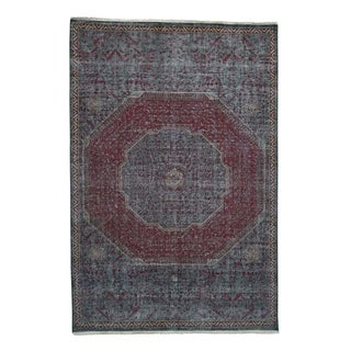 "Shahbanu Rugs Vintage Look Mamluk Zero Pile Shaved Low Worn Wool Rug  (6'0"" x 9'0"") - 6'0"" x 9'0"""