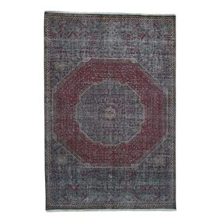 "Shahbanu Rugs Vintage Look Mamluk Zero Pile Shaved Low Worn Wool Rug  (6'0"" x 9'0"") - 6'0"" x 9'0"""