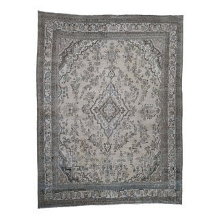"""Shahbanu Rugs Vintage Hamadan With Grey And Blue Hand-Knotted Oriental Rug (10'4"""" x 13'8"""") - 10'4"""" x 13'8"""""""