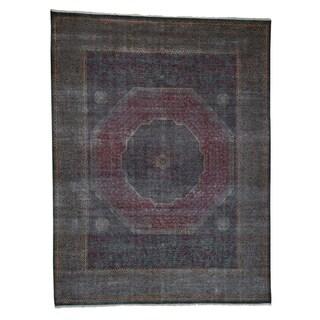 "Shahbanu Rugs Vintage, Look Mamluk Zero Pile Shaved Low Worn Wool, Rug (9'6"" x 14'0"") - 9'6"" x 14'0"""