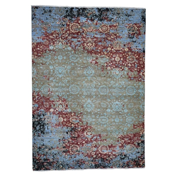 "Shahbanu Rugs Modern Broken Pattern Transitional Design Hand Knotted Oriental Rug (9'0"" x 12'10"") - 9'0"" x 12'10"""