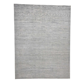 """Shahbanu Rugs Pure Silk With Oxidized Wool Gabbeh Design Hand-Knotted Oriental Rug (9'0"""" x 12'0"""") - 9'0"""" x 12'0"""""""