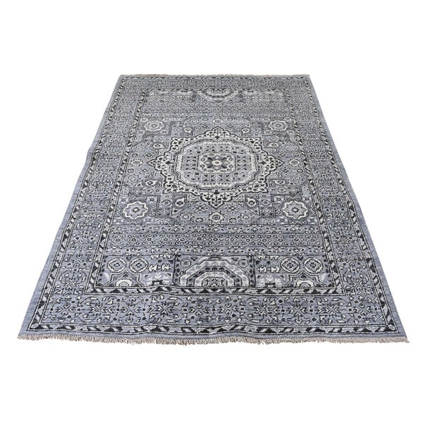 "Shahbanu Rugs Vintage Look Mamluk Pure Wool Natural Colors Hand-Knotted Oriental Rug (4'0"" x 6'0"") - 4'0"" x 6'0"""