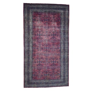 "Shahbanu Rugs Antique Persian Kashan Gallary Size Even Wear Hand-Knotted Rug (10'10"" x 19'8"") - 10'10"" x 19'8"""