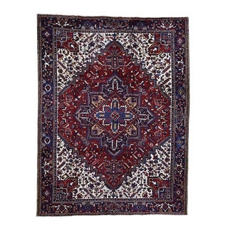 """Shahbanu Rugs Pure Wool Semi Antique Persian Heriz Exc-Condition Hand-Knotted  (8'4"""" x 11'0"""") - 8'4"""" x 11'0"""""""
