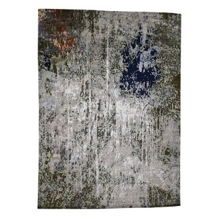 """Shahbanu Rugs Abstract Design Wool And Silk Hand-Knotted Oriental Rug (10'1"""" x 13'10"""") - 10'1"""" x 13'10"""""""