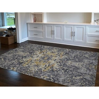 "Shahbanu Rugs Abstract Design Wool And Silk Hand-Knotted Oriental Rug (6'1"" x 8'10"") - 6'1"" x 8'10"""
