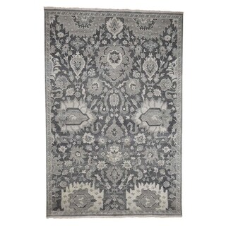 """Shahbanu Rugs Hand-Knotted Oushak Influence Silk with Oxidized Wool Oriental Rug (6'0"""" x 9'0"""") - 6'0"""" x 9'0"""""""