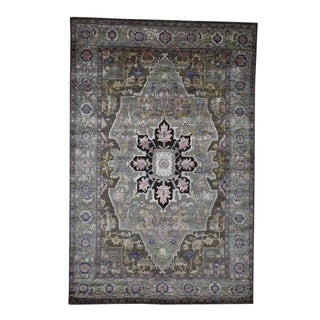 "Shahbanu Rugs Hand-Knotted Heriz Design Wool and Silk Oriental Rug (6'0"" x 9'0"") - 6'0"" x 9'0"""