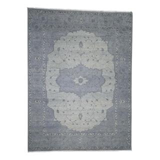 "Shahbanu Rugs Tone On Tone Grey Heriz Hand-Knotted Oriental Rug  (9'0"" x 12'0"") - 9'0"" x 12'0"""