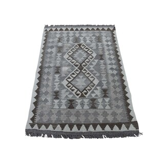"Shahbanu Rugs Undyed Natural Wool Afghan Kilim Reversible Hand Woven Oriental Rug (2'7"" x 4'1"") - 2'7"" x 4'1"""