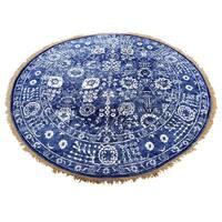 "Shahbanu Rugs Hand-Knotted Wool and Silk Tone on Tone Round Tabriz Oriental Rug  (4'1"" x 4'1"") - 4'1"" x 4'1"""