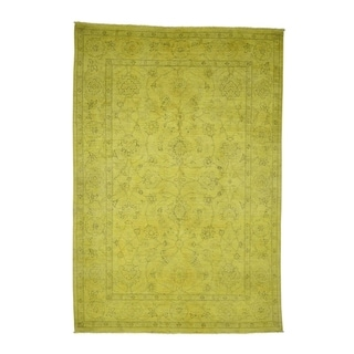 "Shahbanu Rugs Overdyed Peshawar Yellow Hand-Knotted Pure Wool Oriental Rug (5'8"" x 8'2"") - 5'8"" x 8'2"""