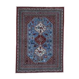 """Shahbanu Rugs Antiqued Shiraz vegetable Dyes With Horses Pure Wool Oriental Rug (5'0"""" x 6'9"""") - 5'0"""" x 6'9"""""""