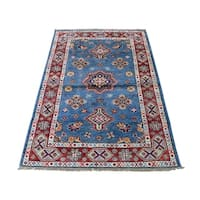 """Shahbanu Rugs Pure Wool Hand-Knotted Special Kazak Oriental Rug (3'0"""" x 4'10"""") - 3'0"""" x 4'10"""""""