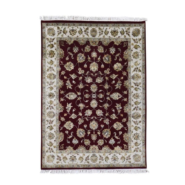 """Shahbanu Rugs Wool And Silk Rajasthan Hand-Knotted Oriental Rug (5'1"""" x 7'1"""") - 5'1"""" x 7'1"""""""