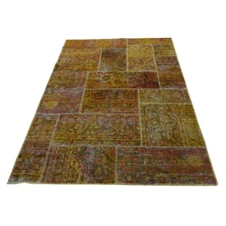 """Shahbanu Rugs Overdyed Tabriz Patchwork Pure wool Hand-Knotted Oriental Rug (4'0"""" x 6'1"""") - 4'0"""" x 6'1"""""""