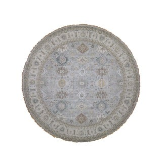 "Shahbanu Rugs Hand-Knotted Karajeh 100 Percent Wool Oriental Round Rug  (8'0"" x 8'0"") - 8'0"" x 8'0"""