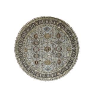 "Shahbanu Rugs Hand-Knotted Silver Karajeh Design Pure Wool Round Oriental Rug (8'9"" x 8'10"") - 8'9"" x 8'10"""
