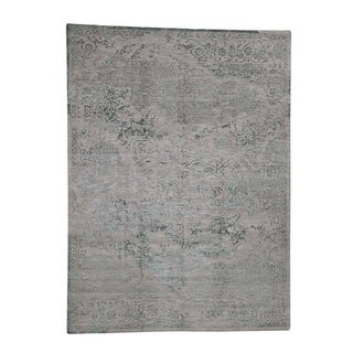"Shahbanu Rugs Wool and Silk Broken Heriz Design Hand-Knotted Oriental Rug (8'10"" x 12'0"") - 8'10"" x 12'0"""