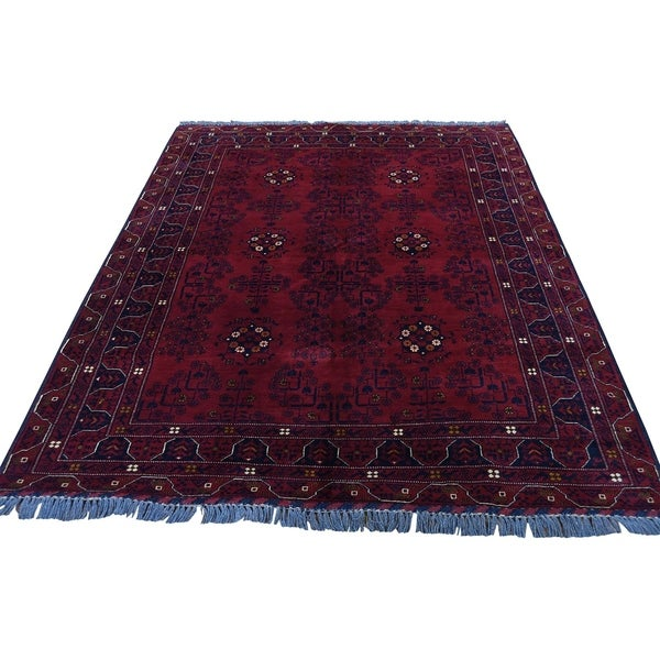"Shahbanu Rugs Hand-Knotted Pure Wool Red Afghan Qunduz Oriental Rug (5'0"" x 6'6"") - 5'0"" x 6'6"""