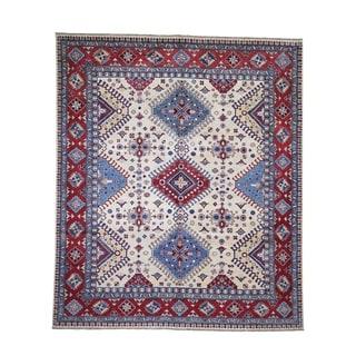 "Shahbanu Rugs Special Kazak Pure Wool Hand-Knotted Geometric Design Oriental Rug (8'3"" x 9'7"") - 8'3"" x 9'7"""