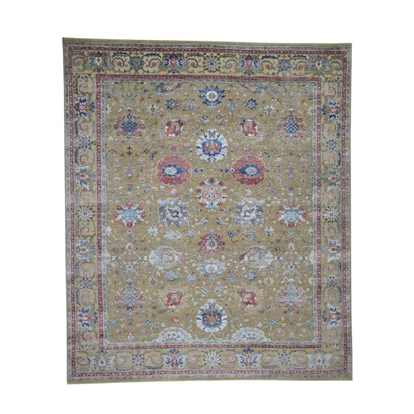 """Shahbanu Rugs Textured Ancient Sultanabad Design Silk With Oxidized Wool Rug (8'1"""" x 9'7"""") - 8'1"""" x 9'7"""""""