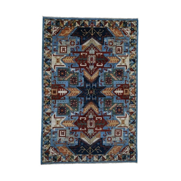 "Shahbanu Rugs Star Design Super Kazak Pure Wool Hand-Knotted Oriental Rug (6'1"" x 9'0"") - 6'1"" x 9'0"""