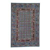 "Shahbanu Rugs Hand-Knotted Antiqued Pazyryk Historical Design Peshawar Oriental Rug (6'0"" x 8'10"") - 6'0"" x 8'10"""