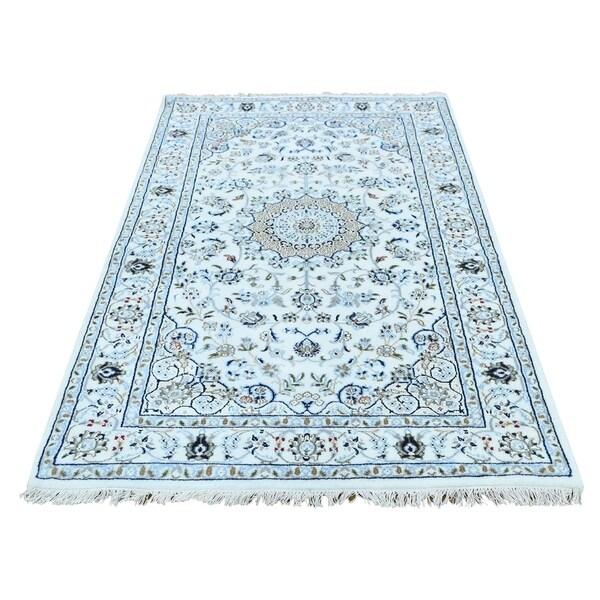 "Shahbanu Rugs Hand-Knotted Wool and Silk 250 KPSI Ivory Nain Oriental Rug (3'4"" x 5'6"") - 3'4"" x 5'6"""