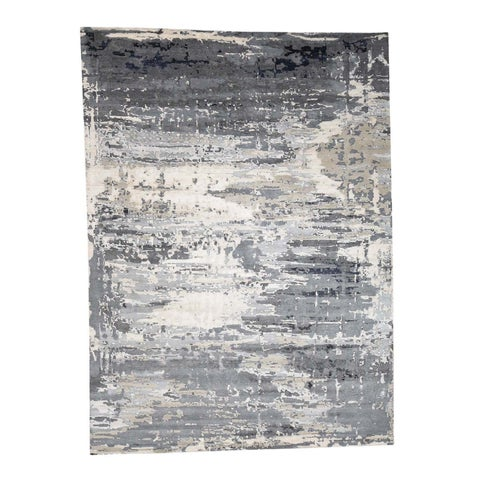 """Shahbanu Rugs Abstract Design Wool and Silk Hi-Lo Pile Hand-Knotted Oriental Rug (9'1"""" x 12'1"""") - 9'1"""" x 12'1"""""""