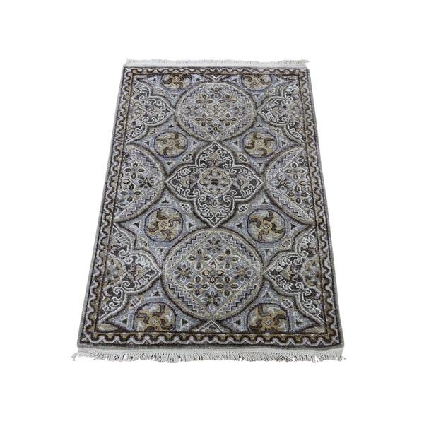"Shahbanu Rugs Oxidized Wool and Silk Mughal Inspired Medallions Oriental Rug (2'1"" x 3'2"") - 2'1"" x 3'2"""
