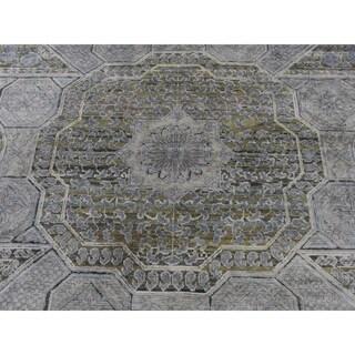 "Shahbanu Rugs Silk With Textured Oxidized Wool Mamluk Design  Oriental Rug (9'0"" x 11'7"") - 9'0"" x 11'7"""