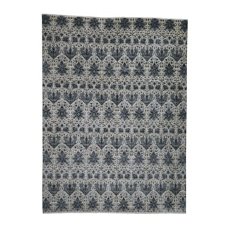 "Shahbanu Rugs Wool and Silk Transitional Modern Hand Knotted Oriental Rug (9'0"" x 12'2"") - 9'0"" x 12'2"""