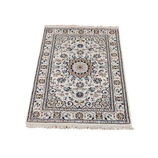 "Shahbanu Rugs Wool And Silk 250 Kpsi Ivory Nain Hand-Knotted Oriental Rug (2'0"" x 3'1"") - 2'0"" x 3'1"""