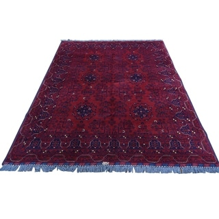 "Shahbanu Rugs Hand-Knotted Pure Wool Red Afghan Qunduz Oriental Rug (4'10"" x 6'7"") - 4'10"" x 6'7"""