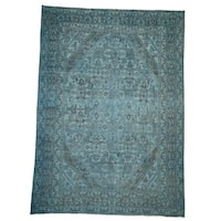"""Shahbanu Rugs Overdyed Bibikabad Hand-Knotted Pure Wool Oriental Rug (8'7"""" x 11'8"""") - 8'7"""" x 11'8"""""""