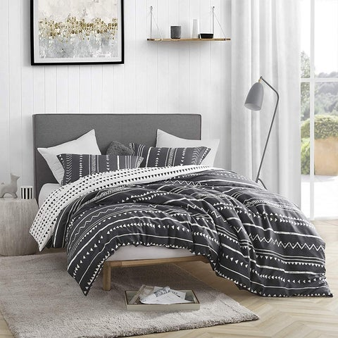 Trinity - Faded Black and White - Oversized Duvet Cover - 100% Cotton Bedding
