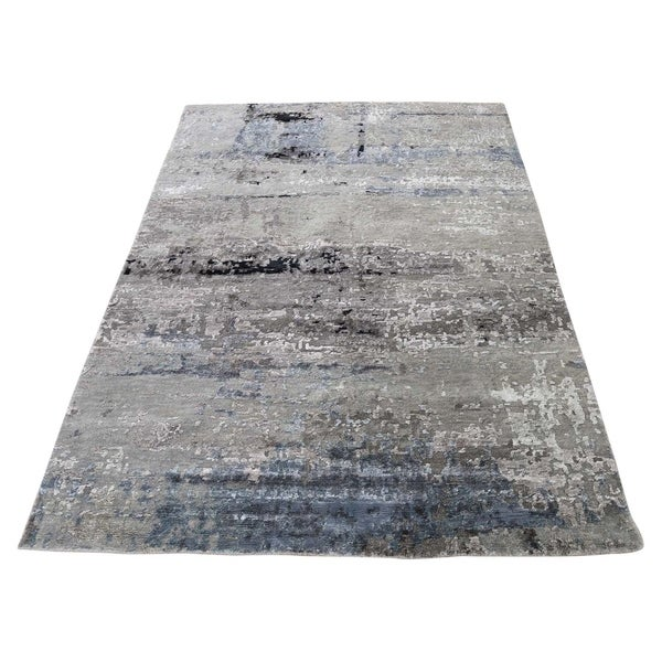"""Shahbanu Rugs Hi-Low Pile Abstract Design Wool And Silk Hand-Knotted Oriental Rug (4'0"""" x 5'9"""") - 4'0"""" x 5'9"""""""