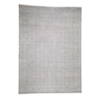 "Shahbanu Rugs Silk with Oxidized Wool Tone on Tone Hand-Knotted Oriental Rug (8'10"" x 12'0"") - 8'10"" x 12'0"""